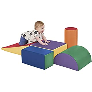 ECR4Kids - ELR-12683 SoftZone Climb and Crawl Activity Play Set, Lightweight Foam Shapes for Climbing, Crawling and Sliding, Safe Foam Playset for Toddlers and Preschoolers, 5-Piece Set, Primary,Assorted