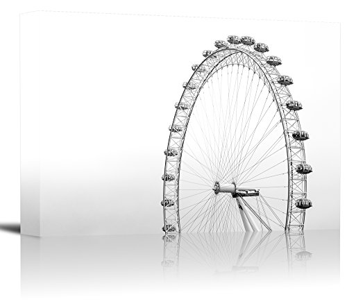 London Eye Ferris Wheel England Art Print Wall Decor Image - Canvas Stretched Framed 16 x 24 - M