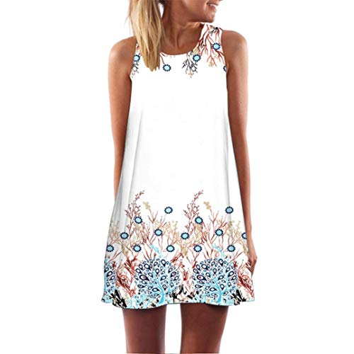 CUCUHAM Vintage Boho Women Loose Summer Sleeveless 3D Floral Print Bohe Tank Mini Dress