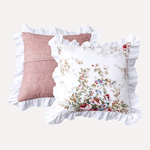 TEALP Decorative Floral Euro Shams with Rose Print 26x26 inch, Set of 2