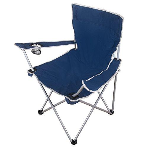 Anaterra Faltstuhl (Campingstuhl mit Armlehne und Getränkehalter) blau