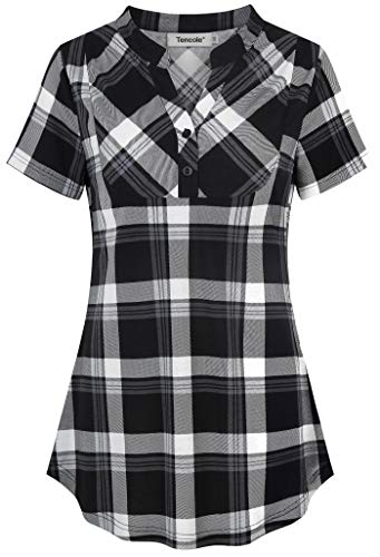 Tencole Plaid Shirts for Women,Buffalo Pintuck Tunic Blouse Shawl Collar Split V Neck Pullover Curved Hem Pleated Knit Juniors Trim Button Front Plaid Gingham Tops Ladies Business Casual Office Wear
