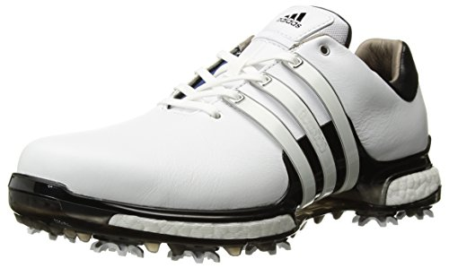 adidas Men's TOUR 360 2.0 Golf Shoe, White/Black, 12 M US