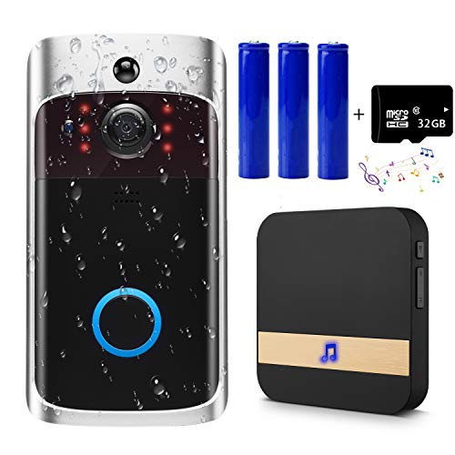 Video Doorbell Camera with Ring Chime, Wi-Fi with Motion Detector, Waterproof, Wide Angle, Night Vision, Real-Time, and 32GB SD Card