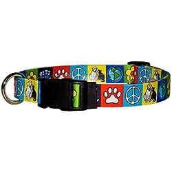 "Yellow Dog Design Pets for Peace Dog Collar - Size Medium 14"" - 20"""