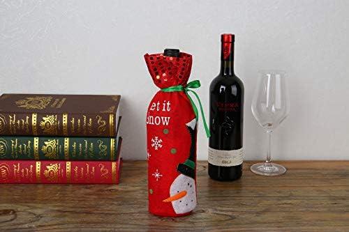 bolsas de Pap/á Noel Funda para botella de vino tinto navide/ño mu/ñeco de nieve y oso para fiestas de Navidad hotel bolsas de regalo para vino tinto bolsas de champ/án bar cocina PUBMIND