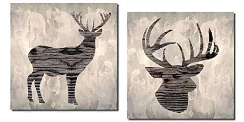 Beautiful Contemporary Deer and Buck Silhouette; Lodge and Cabin Decor; Two 12x12in Prints. Brown/Black