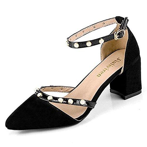 de Zapatos ZHZNVX Mujer negro resorte de el Beige confort Otoño bajo talones de talón Black goma exterior para rrdEwYq
