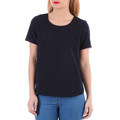 La Modeuse–Camiseta large y fluido dos ajouré con N & # x153; uds azul marino