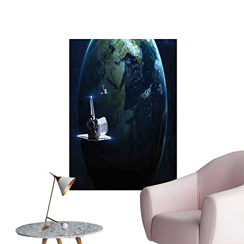 Galaxy Self Adhesive Wallpaper for Home Bedroom Decor Spaceship Return to Earth Science Fiction World Backdrop Space Craft Travel Large Removable Decals Navy Blue Grey W32 x H48