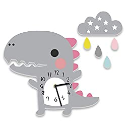 1PC Dinosaur Wall Clock PVC Cartoon Hanging Clock Interior Home Decor Silent Baby Room Wall Clock