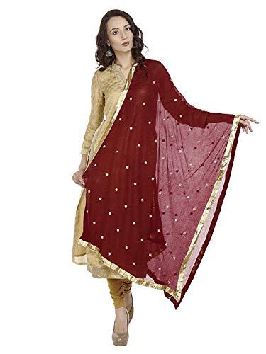 TMS Woman's Embroidered Chiffon Dupatta Scarf Shawl Wrap Soft Indian Bridal Wedding (Maroon)
