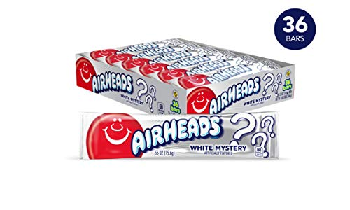Airheads Candy, Individually Wrapped Bars, White Mystery, Non Melting, Party, 0.55 Ounce (Pack of 36)]()