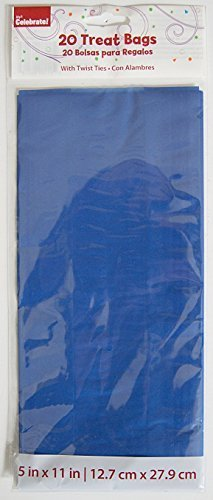 Blue Design Cello Treat Bags, 20-Pack Blue Cello Bags