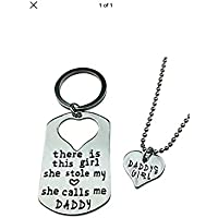 Key Ring Necklace Heart Letter Heart Keychain Daddy Daughter Dad Father Girls