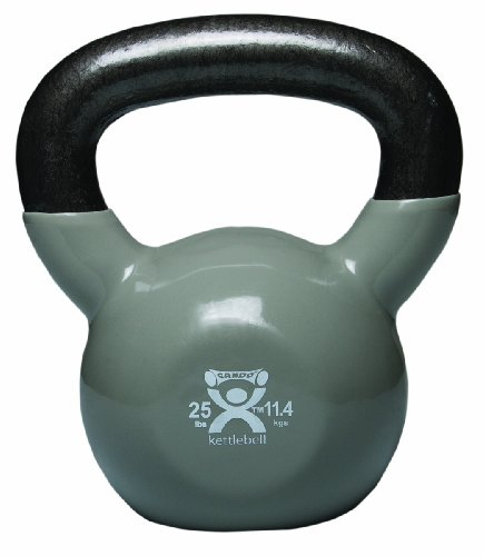 CanDo Vinyl-Coated Kettlebell, Silver, 25 Pound