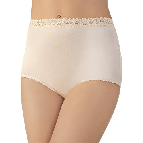 Plus Size Perfectly Yours Nylon with Lace Brief Panty 13060, Rose Beige, X-Large/8 ()