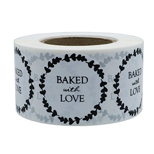 Hybsk Rustic Baked with Love Stickers with Wreath Around 1.5 Inch Round Total 500 Adhesive Labels Per Roll
