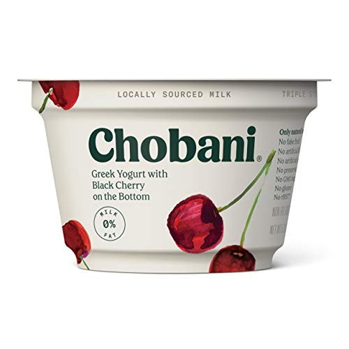 - Chobani Non-Fat Greek Yogurt, Black Cherry on the Bottom 5.3oz