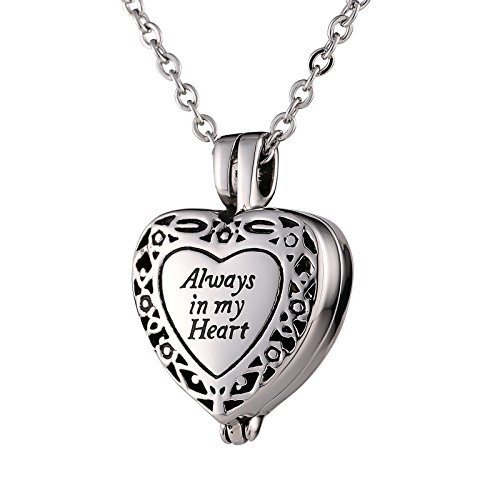 Dark Angel Costume Diy (Epinki Stainless Steel Vintage Flower Pattern Heart Pendant Urn Necklace for Ashes Memorial Keepsake)