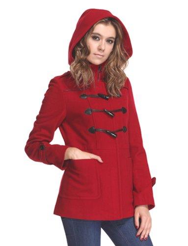 AC1208-Zareen Women's Wool Blend Duffle Coat with Hood (XS, Red) -