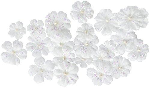 Prima 538491 Pearl Penache Fabric Flower Embellishments, Ice Castle -