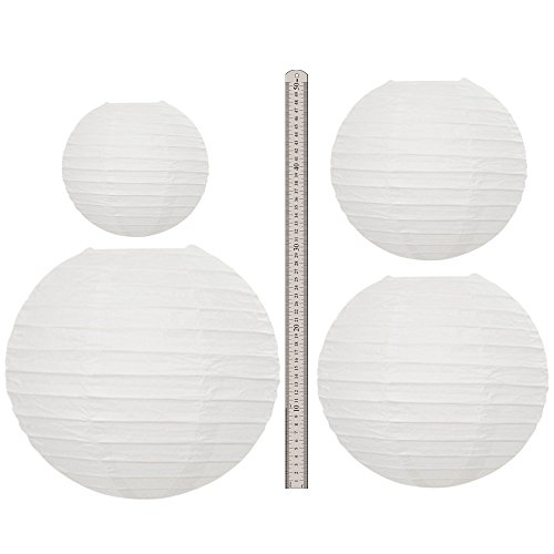 Neo LOONS White Round Chinese/Japanese Paper Lanterns Metal Framed Hanging Lanterns-- Assorted Sizes--Birthday/Wedding/Christmas/Ceiling Party Supplies Favors Hanging Decoration by NEO LOONS (Image #1)