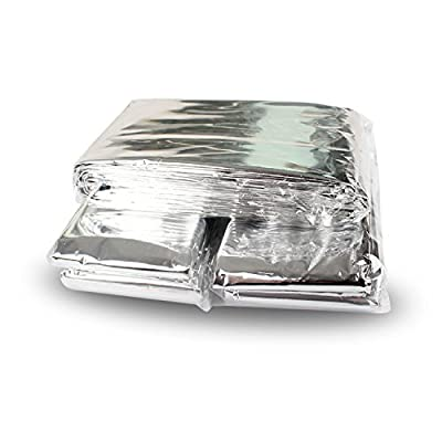 2 Pack Emergency Blanket/Space Blanket/Survival Blanket/Thermal Blanket/Sleeping Blanket/Silver Foil Blanket/Camping Mat/Emergency Shelter Outdor Gear,Silver Color,First Aid Kits Keep You Warm