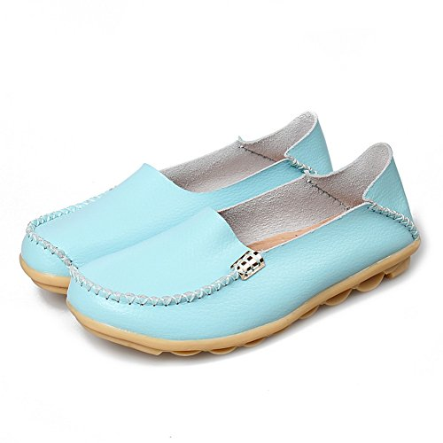 Yixinan Mote Flats Lær Uformelle Blonder-up Sko For Kvinne Himmelen Blue2  ...