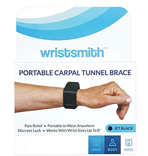 WRISTSMITH Carpal Tunnel Wrist Support Brace- Portable Travel & Adjustable Splint for Daily Use at Work or Home (Jet Black)