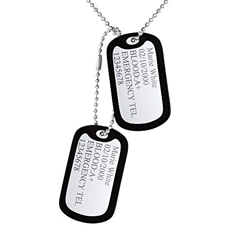 - Custom4U Dog Tag for Men Silencer Military Necklace Stainless Steel Luggage Tags with Ball Chain