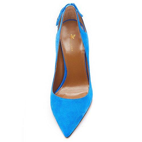 uBeauty Women's High Heel Pointed Toe Court Shoes Sandals Fringe Tassel Slim Pump Slender Shoes Casual Blue Suede Heel 12cm bdsX9