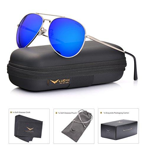 LUENX Aviator Sunglasses Men Women Polarized with Case - UV 400 Mirror Blue Lens Metal Siver Frame 60mm (Dark Blue -6, 60) ()