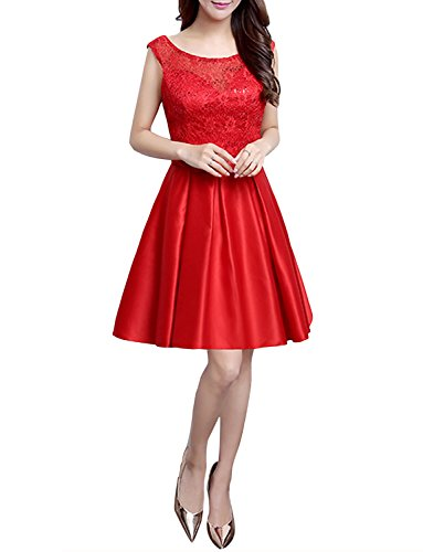 Levory J Women's Vintage 1950's Floral Spring Garden Party Cocktail Dress (10, Red-Lace)