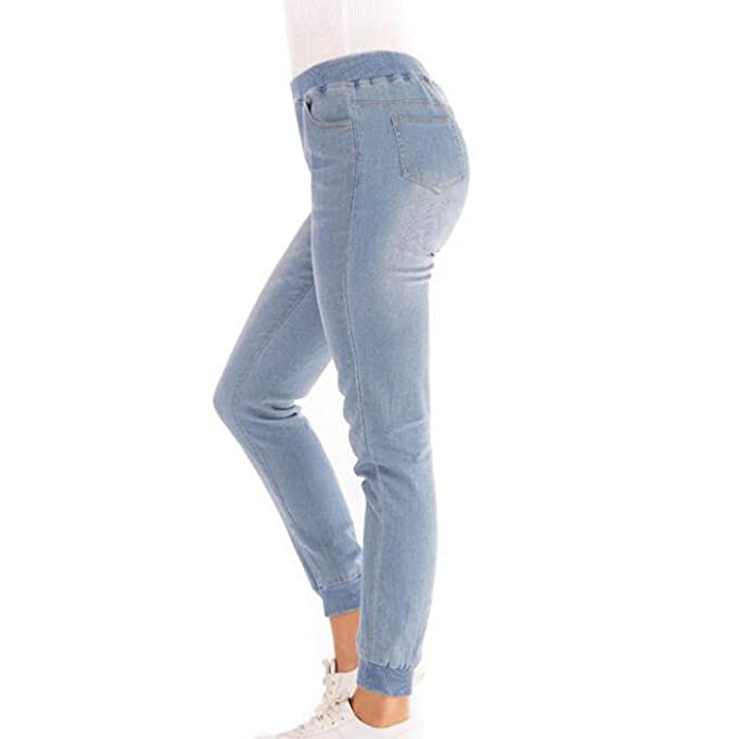 Kewing Pantalones de Mezclilla Ocio Retro Cintura Elástica Harem Vaqueros  Lavados Cintura Media  Amazon.es  Ropa y accesorios d9d8f103b97e