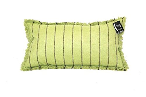 Urban Loft by Westex Fringe Stripe Green Feather Filled Decorative Throw Pillow Cushion 14 x 26
