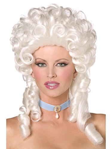 Ladies Baroque Historical Marie Antoinette Fancy Dress Curly Judge Wig]()