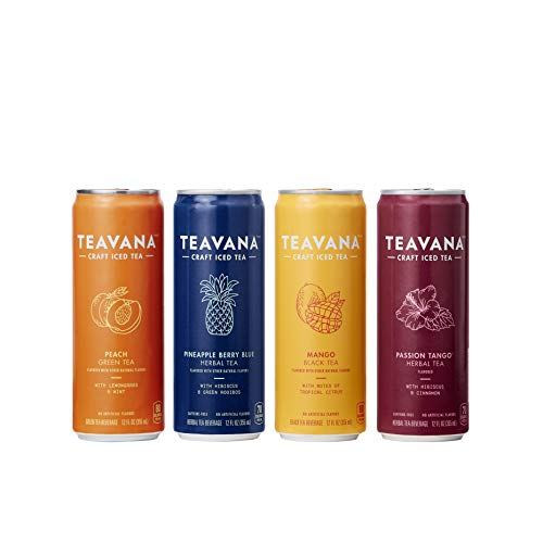 Teavana Craft Iced Tea Variety Pack, Pineapple Berry Blue Herbal Tea, Peach Green Tea, Mango Black Tea & Passion Tango Herbal Tea, 12 Fl. Oz. Cans (Pack Of 12) (Green Cans Tea Peach)