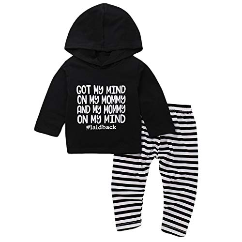 Infant Baby Boy Girl Hoodie Outfits Set Letters Hooded Black Tops+Striped Pants (18-24M)