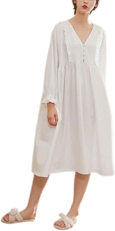 CX-Store Camisa Blanca con Cuello En V para Mujer Estilo Victoriano, Estilo Vintage, Manga Larga, Vestidos De Bata Blanca: Amazon.es: Ropa y accesorios