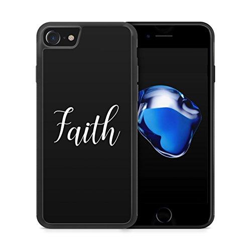 Faith Schriftzug Schwarz - Hülle für iPhone 7 SILIKON Handyhülle Case Cover Schutzhülle - Bedruckte Besondere Englische Schöne Design Hüllen