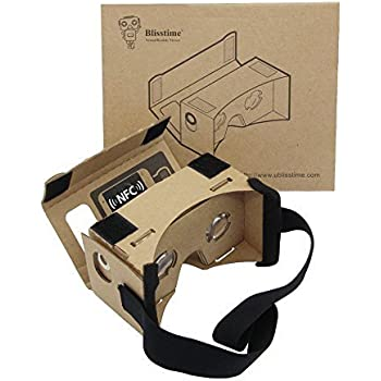 Blisstime Google Cardboard 3d Vr Virtual Reality DIY 3D Glasses for Smartphone with NFC and Headband