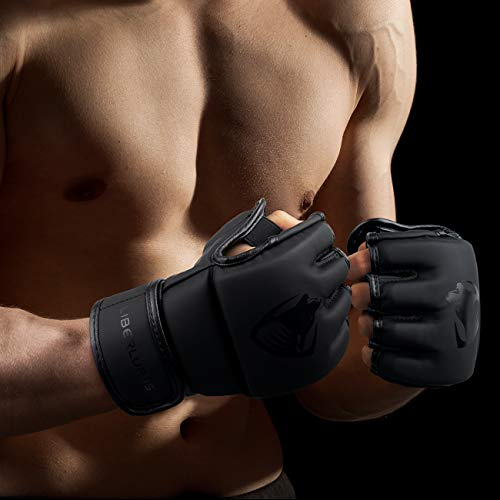 Liberlupus MMA Gloves, UFC Boxing Fight Gloves MMA Mitts with Adjustable Wrist Band for Sanda Sparring Punching Bag Training (Black, L/XL)