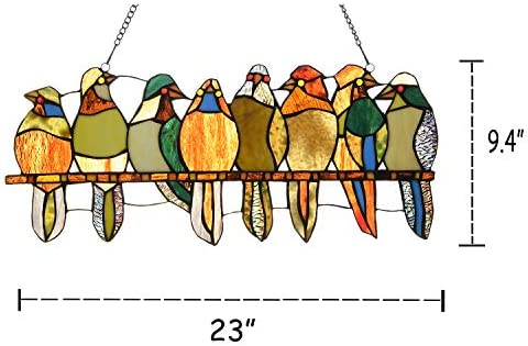 Artzone Handcraft Stained Glass Window Hangings, 8 Birds in Color Glass Window Panel with Chain, Glass Suncacthers for Windows – Tiffany Style