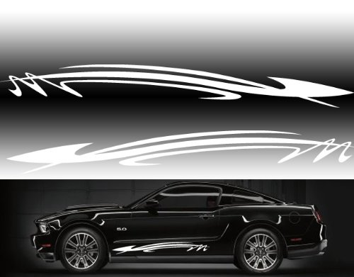 """Universal Car Side Graphics 48""""x6"""" Car Side Decals in White"""