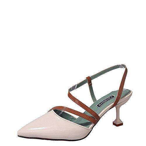 Colorblocking Dames Sandales Chaussures Bien avec des Chaussures à Talons Pointus Orteils Évidés Chaussures Sauvages 1Color 9T4Mlz2PbL