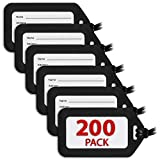 MIFFLIN Luggage Tags (Black, 200 PK), Bag Tag for Baggage, Suitcase Tags Bulk
