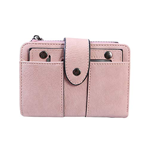 Huaze Women's Cute Wallet Short Small Fresh Student Wallet Solid Color Multi-Card Women's Wallet Pink Clutch Wallets (Pink)