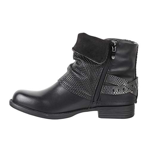 Boots Lederoptik Schnallen Elara Damen Stiefeletten Nieten Black Biker Gefüttert Metallic Prints qE8Z7nw8C