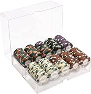 Monaco Club Poker Chips Set - 200 Heavyweight (13.5-Gram) Clay Composite Chips and Acrylic Tray with Lid - Pro